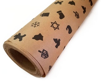 Eco-friendly Chrismukkah Interfaith Gift Wrap --- 100% Recycled, Ready to Ship