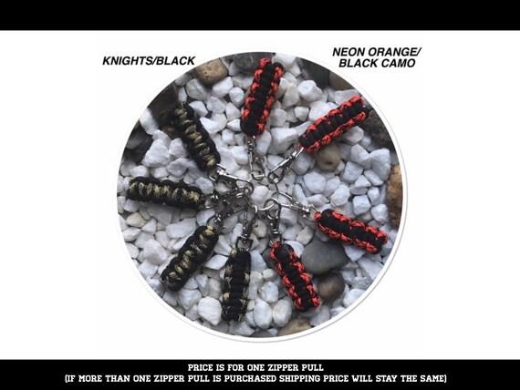 Paracord Zipper Pulls SNAKE WAVE Black Lot of 5