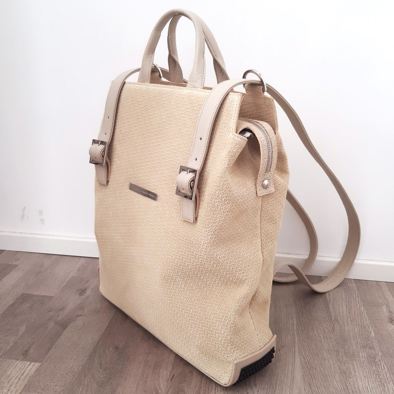 on order handmade in Italy Woman large leather backpack