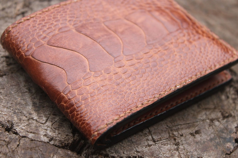 b64fb48a3ab48 Ostrich leg Handmade Leather Wallet  Men s Leather Wallet