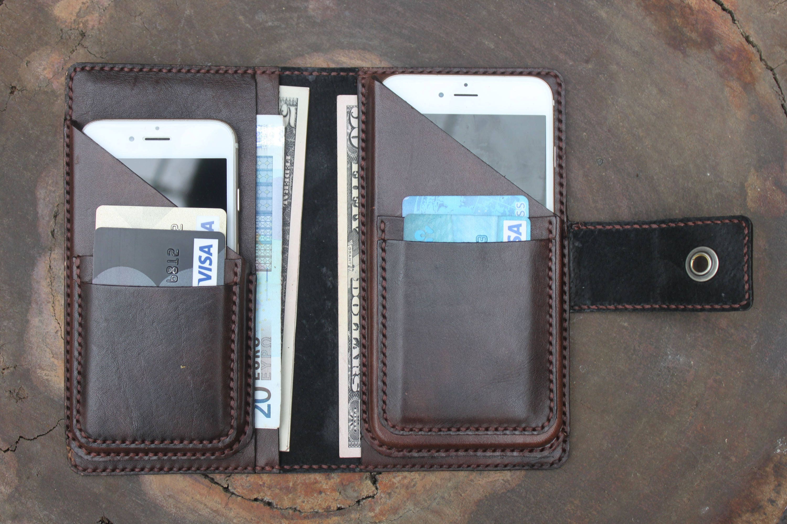 huge discount 17573 8c888 Personalized Leather Wallet, Leather Dual Phone Case, Wallet Book Case,Two  Phones Case, Double Phone Case, Leather Case for Double Phones,