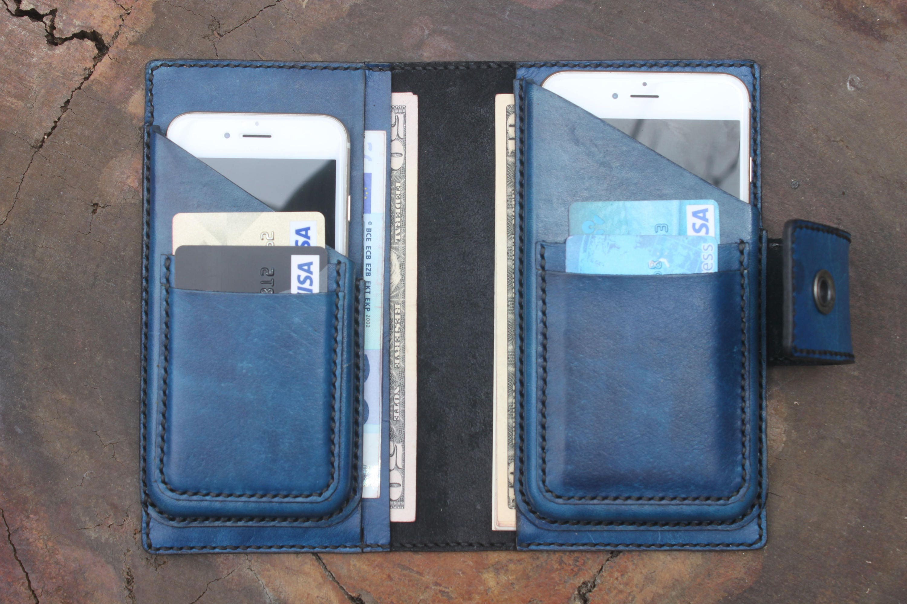 huge discount cc904 cbcfd Personalized Leather Wallet, Leather Dual Phone Case, Wallet Book Case,Two  Phones Case, Double Phone Case, Leather Case for Double Phones,