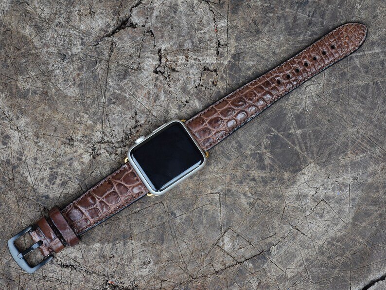 Wristwatch Bands United Red Genuine Leather Crocodile Strap Band For Apple Watch 38mm 40mm 42mm 44mm