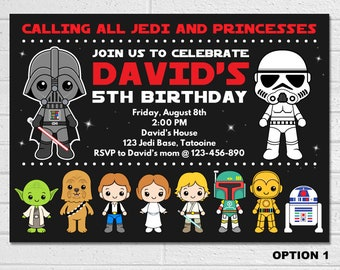 Star Wars Invitation Birthday Movie Party Starwars Invites Darth Vader Printables Stormtrooper Invite Digital Card