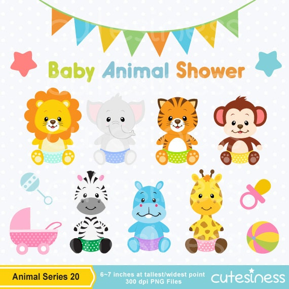 Baby Animal Clipart Baby Animal Clip Art Baby Jungle Etsy
