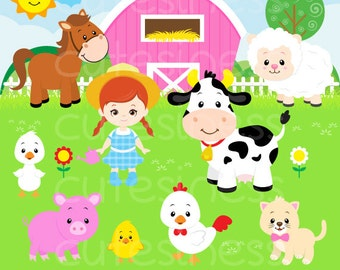 Farm animals clipart, commercial use, clipart, digital clip art, friends, farmer
