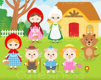 Little Red Riding Hood  Clipart, Little Red Clipart, Three Little Pig clipart