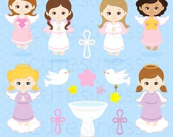 Angel Digital Clipart, Angel Girl Clipart, Angel Clipart, Angel Clip Art, Angel Girl Clip Art, Baptism Clipart, Angel Baptism Girl Clipart