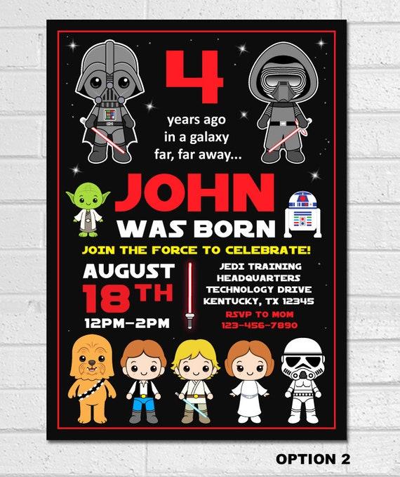 Star Wars Birthday Invitation Star Wars Invitation Birthday Star Wars Party Invite Star Wars Birthday Party Printable Episode Iv V Vi