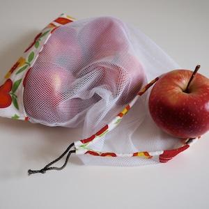 zero waste apple pink red reusable fruit vegetable net