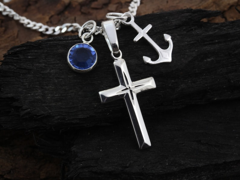 silver cross Girl Small Sterling Silver Cross Necklace Boys 5146 Sterling silver cross  necklace with 2 charms to choose Teens gift