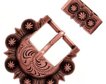 "Western Cowboy Decor Center Bar Berry Buckle Antique Copper Plated 1 1//2/"""