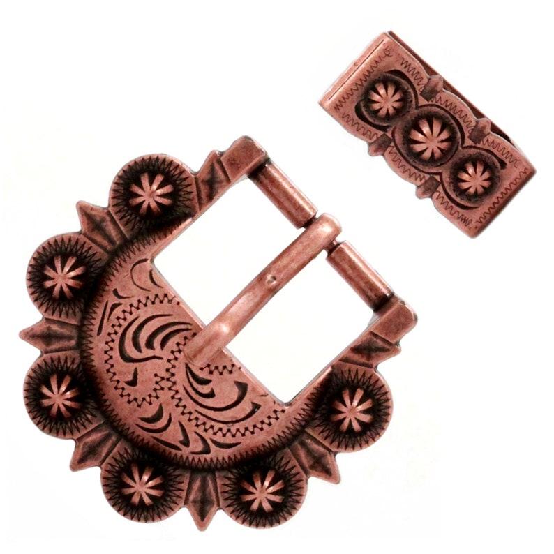 "Sunburst Buckle Antique Copper 1/"" 2677-90"