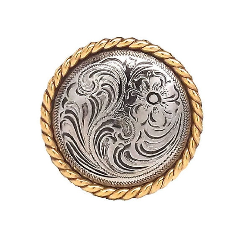 """Gold and Silver Slotted Rope Edge Concho 1/"""" 3484-NGS"""