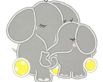 Elephant Mother and Baby Embroidery Design Elephant Embroidery Designs Elephants Applique 5X7 6X10 8X8 Instant Download