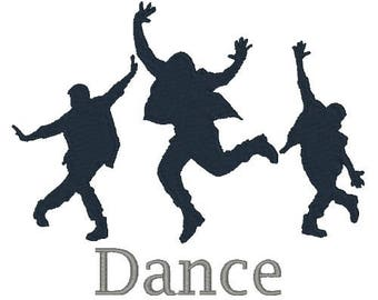 Dancing Silhouette Embroidery Design Hip Hop Dance Machine Embroidery Designs 4X4 5X7 6X10 8X8 Instant Download Dancers