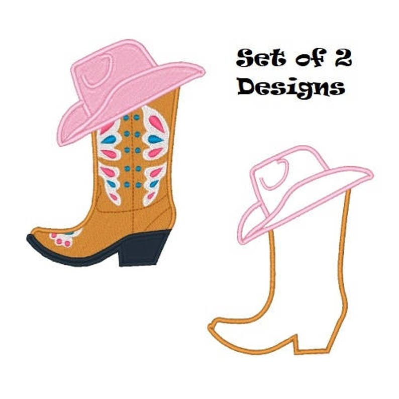 a0b9b492831 Pink Cowgirl Boot Embroidery Design Cowboy Embroidery Designs