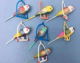 7x Vintage 1960s mini bird on swing budgie BUNDLE Romanian colourful colorful old plastic unusual kitsch mobile hanging decoration lot set