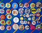 Vintage 1980s kids badges Mr Men Care Bears Mickey Mouse Transformers Noddy Wuzzles Sindy Captain Scarlet Tom Kitten Beatrix Potter shaped