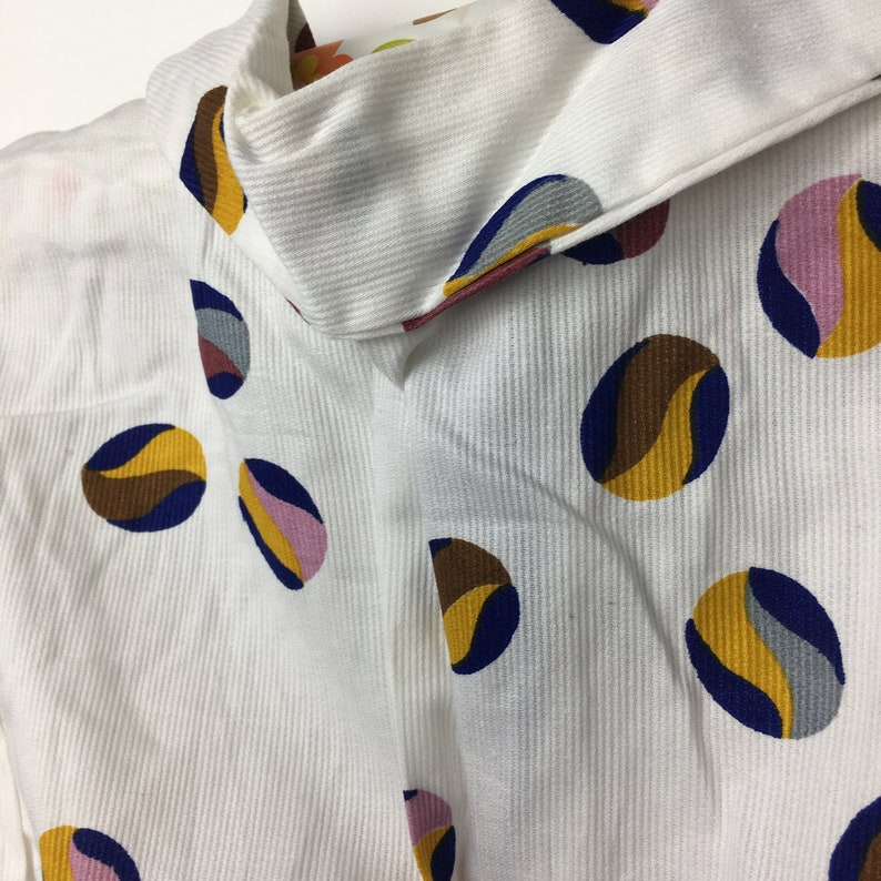 Vintage 1960s 1970s white needlecord summer fall cotton dress tunic Unusual spotty marble print Yellow ribbon Age 6 7 8 9 10 11 12 years