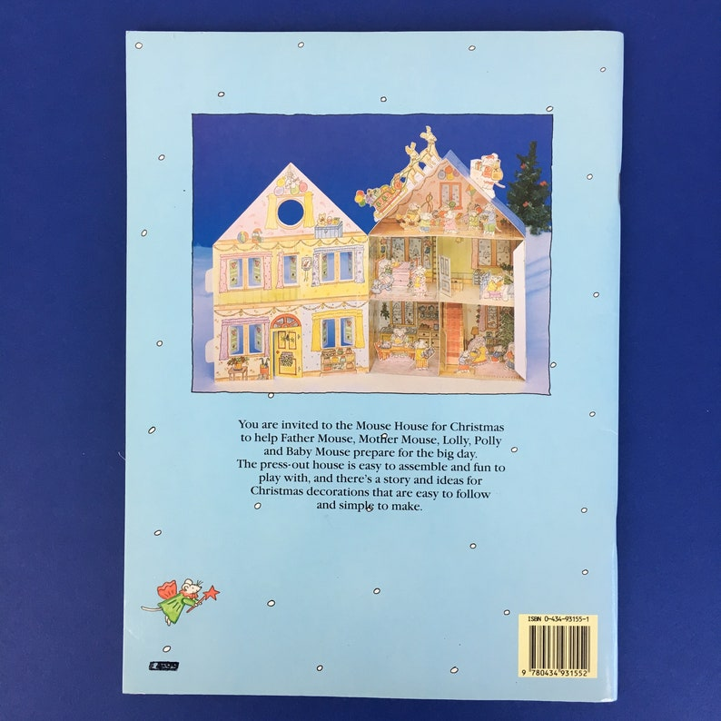 Vintage 1991 Mouse's Christmas House Michelle Cartlidge press-out model  book Little mice paper dolls illustrated card rare cut out 1990s toy