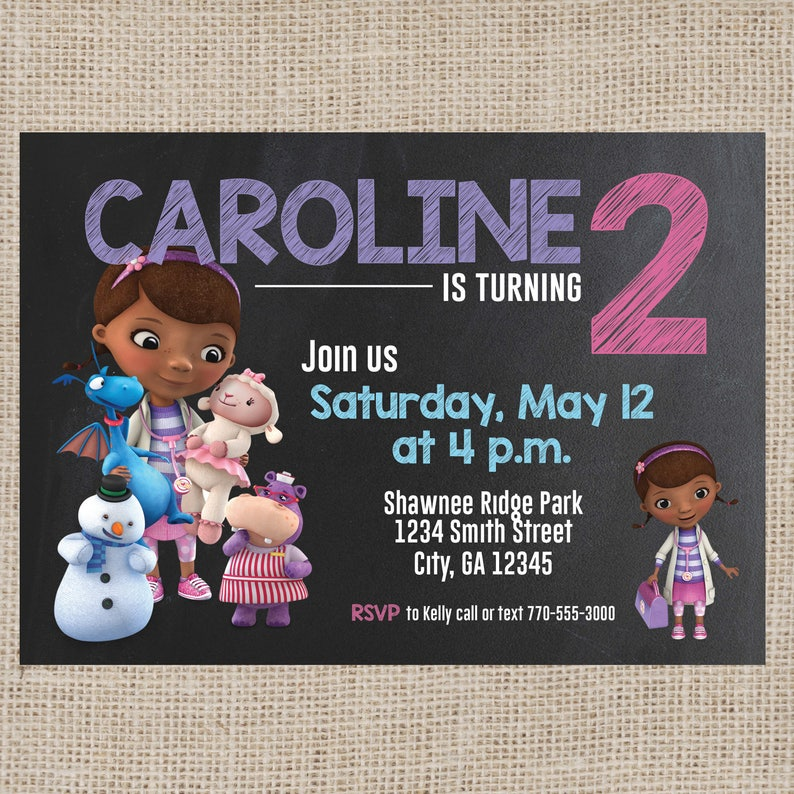 Doc McStuffins Chalkboard Birthday Invitation Personalized