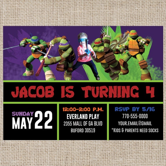 Teenage Mutant Ninja Turtles Personalized Birthday Invitation