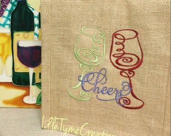 "Natural Jute Tote 9x11x4, ""Cheers"" Wine Glass Toast, Burlap Wine Tote, Wine Bag, Wedding Favors, Welcome Gift Bag, Housewarming Gift Tote."