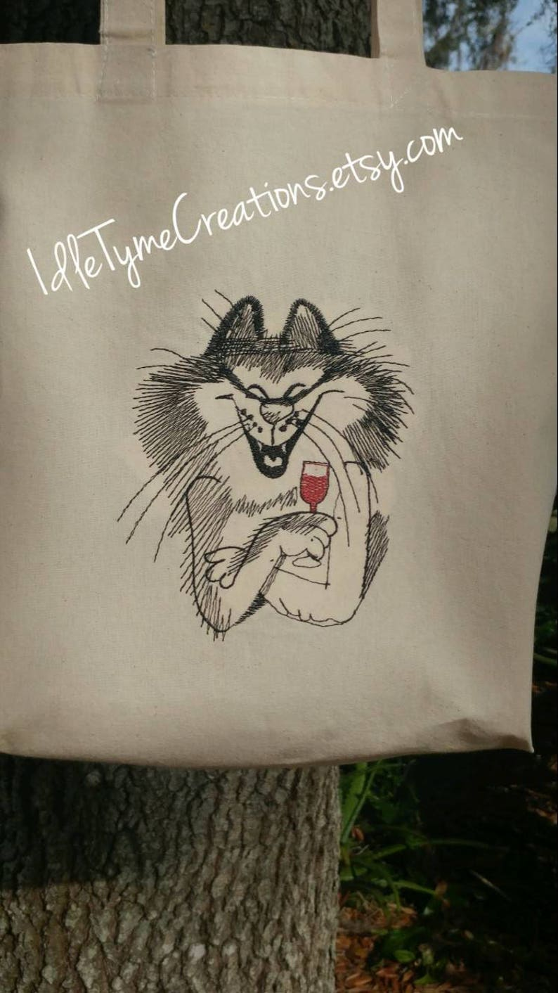 Market Tote Craft Tote Book Bag. Embroidered Shopping Tote Wine Bag Farmers Market Tote Reusable CottonTote Laughing Cat /& Wine