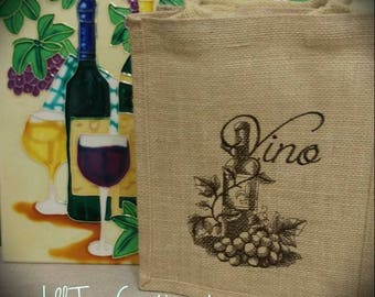 "Natural Jute Tote 9x11x4, ""Vino"" Burlap Wine Tote, Wine Bag, Wedding Welcome Gift Bag, Embroidered Tote, Hostess or Client Gift Bag"