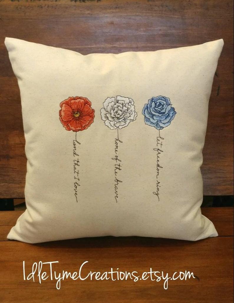 Patriotic Pillow Cover Accent Pillows Throw Pillows Sofa Pillow Red White Blue Flowers Home Decor Gift Ideas Shelf Pillow Bed Pillow