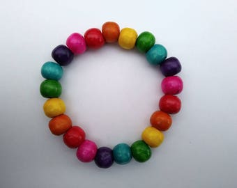 Wooden bead rainbow bracelet