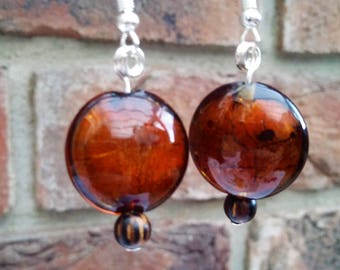 Glass statement bead dangle earrings brown