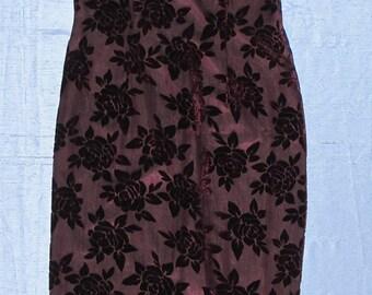 Cheongsam Dress Devore' Burnout Burgundy Fabric, Qi Pao Mandarin Short Sleeve Gown, Misses' Size 12, Robbie Bee, Summer Party Spring Fashion