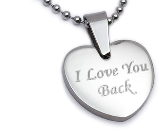 Personalized Heart Necklace, Heart Pendant NecklAce, Custom Engrave Stainless Steel  Heart Necklace, Gift For Her