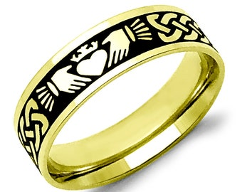 Claddagh Ring, Celtic Ring, Celtic Claddagh Wedding Band Ring, Irish Claddagh Ring, 2-Tone Gold Plated Stainless Steel Ring 6mm SSR776-G