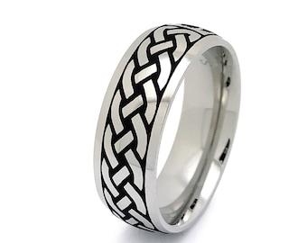 Celtic Ring, Mens Celtic Wedding  Ring Stainless Steel Wedding Band 6mm Size 6-14 SSR798-6mm