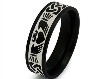Claddagh Ring, Black Celtic Claddagh Wedding Ring, Mens Celtic Ring in Stainless Steel, Pipe Cut Claddagh Ring for Men and Woman 5mm-SSR783