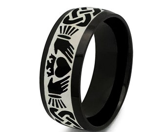 Claddagh Ring, Black Celtic Claddagh Wedding Ring,Mens Celtic Ring in Stainless Steel, Claddagh Ring for Men &Woman, Clacsic Dome 8mm-SSR788