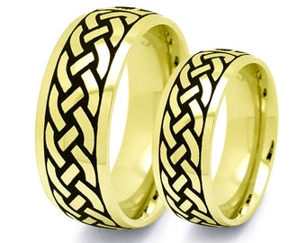 Celtic Rings,Celtic Band for Men and Women, Celtic Jewelry, 8mm/6mm Infinity Ring, Gold Plated Stainless Steel Celtic Ring SSR798-G