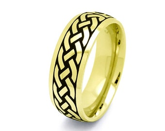Celtic Ring, Mens Celtic Wedding  Ring Gold Ip Plated Stainless Steel Wedding Band 6mm Size 6-15 SSR798-6mm-G