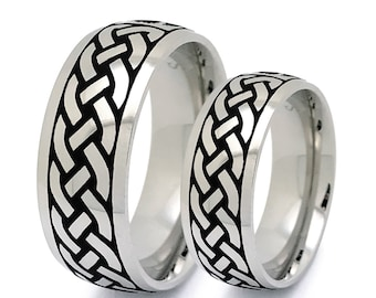 Tungsten Rings, Tungsten Celtic Wedding Rings,Celtic Band for Men and Women, 8MM/5.5MM His and Her Celtic Ring, Classic Dome TCR748