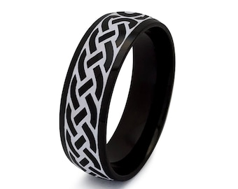 Tungsten Ring, Celtic Ring,Celtic Band for Men and Women, Celtic Wedding Ring, Men's 8 Celtic Ring, Black Tungsten  Celtic Ring TCR745-8MM