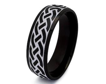 Celtic Ring, Mens Celtic Wedding  Ring For Men, Men's Wedding Band, Black IP Plated Stainless Steel Wedding Band Size 5-13 SSR799-6mm