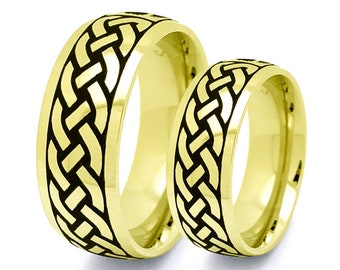 Tungsten Rings, Gold IP Plated Tungsten Celtic Rings,Celtic Band for Men and Women, 7MM/5MM His and Her Celtic Ring, Classic Dome TCR744-G