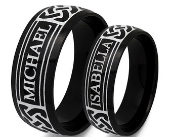 Titanium Rings, Name Rings, Celtic Rings,Celtic Band for Men and Women, 8MM/6MM His and Her Celtic Ring, Anniversary Ring Set, Name Rings
