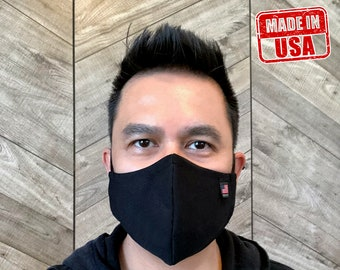 Made In USA Face Mask 2 Layers Fabric Face Mask, PLAIN Black Washable /Reusable Face Mask with Adjustable Ear Loop & Nose Wire Size S,M,L