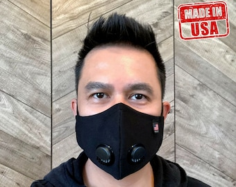 Made In USA Face Mask, Double Breathing Valve, 2 Layers Washable/Reusable Face Mask-Face Mask with Adjustable Nose Wire &  Ear Loop S,M,L