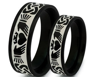 Claddagh Rings,Celtic Claddagh Wedding Rings,Celtic Band for Men and Women, Stainless Steel Celtic Claddagh Rings, Couples Ring Set-SSR784