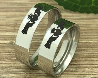 6mm  Claddagh Rings, His and Hers Sterling Silver Claddagh Rings, Personalize Engrave Claddagh, Anniversary Rings, Couples Ring Set